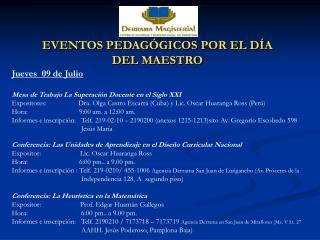 EVENTOS PEDAG GICOS POR EL D A DEL MAESTRO