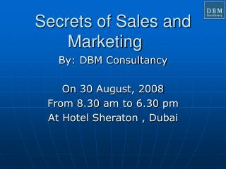Secrets of Sales and Marketing