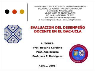 UNIVERSIDAD CENTROCCIDENTAL LISANDRO ALVARADO DECANATO DE ADMINISTRACI N Y CONTADURIA CENTRO DE INVESTIGACI N  VI JORNAD