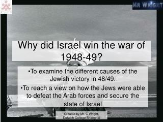 Why did Israel win the war of 1948-49