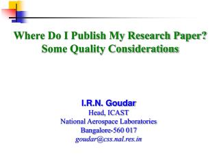 Where Do I Publish My Research Paper Some Quality Considerations