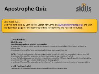 Apostrophe Quiz