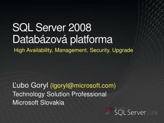 SQL Server 2008 Datab zov  platforma