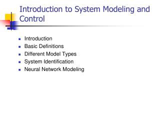 Introduction to System Modeling and Control