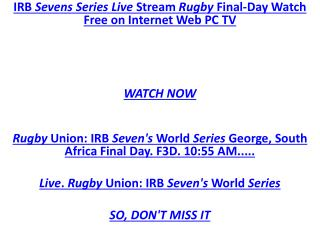 HQD 7 Series ##LIVE RUGBY IRB Sevens Series!!! Live Stream R