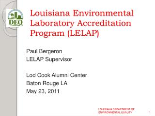 Louisiana Environmental Laboratory Accreditation Program LELAP