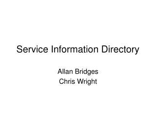 Service Information Directory