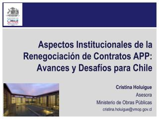 Aspectos Institucionales de la Renegociaci n de Contratos APP: Avances y Desaf os para Chile