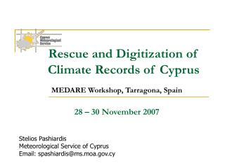 Rescue and Digitization of     Climate Records of Cyprus
