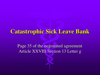 Catastrophic Sick Leave Bank