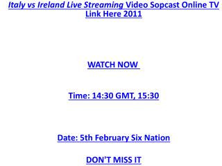 HQD RUGBY TV>>> Italy vs Ireland Live Streaming Six Nations