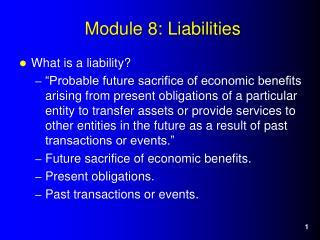 Module 8: Liabilities