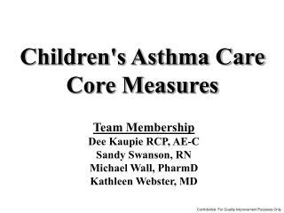 Team Membership  Dee Kaupie RCP, AE-C Sandy Swanson, RN  Michael Wall, PharmD Kathleen Webster, MD