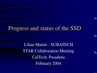 Progress and status of the SSD