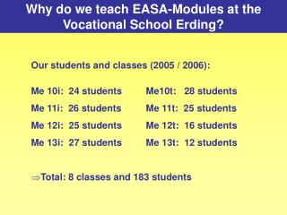 Why do we teach EASA-Modules at the Vocational School Erding
