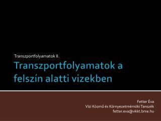 Transzportfolyamatok a felsz n alatti vizekben