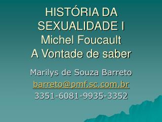 HIST RIA DA SEXUALIDADE I Michel Foucault A Vontade de saber