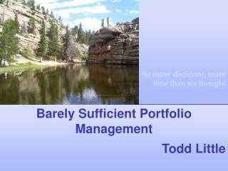 Barely Sufficient Portfolio Management  Todd Little