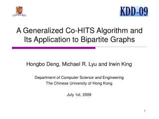 A Generalized Co-HITS Algorithm and Its Application to Bipartite Graphs