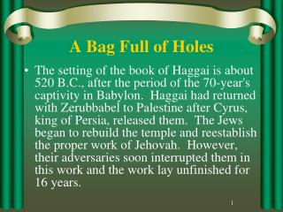 A Bag Full of Holes