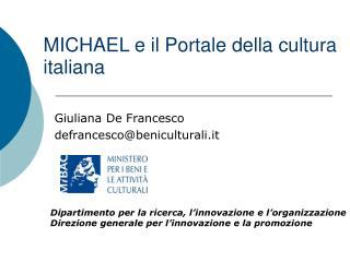 MICHAEL e il Portale della cultura italiana