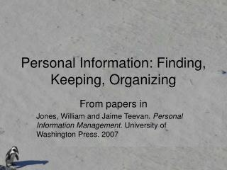 Personal Information: Finding