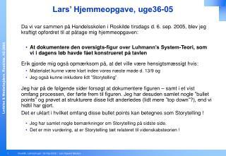 Lars  Hjemmeopgave, uge36-05