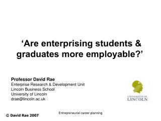 'Are enterprising students & graduates more employable?'