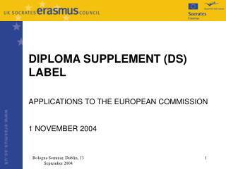 Bologna Seminar, Dublin, 13 September 2004