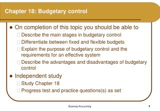 Chapter 18: Budgetary control