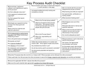 Key Process Audit Checklist  Record answers and notes on blank turtle diagrams or audit checklist or note page