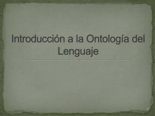 Introducci n a la Ontolog a del Lenguaje