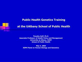 Public Health Genetics Training  at the UAlbany School of Public Health