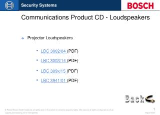 Communications Product CD - Loudspeakers
