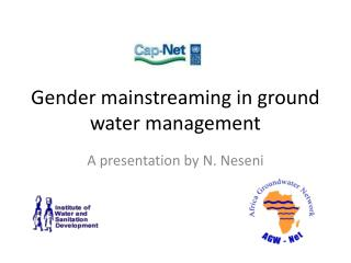 Gender mainstreaming in ground water management