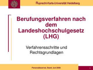 Berufungsverfahren nach dem Landeshochschulgesetz LHG