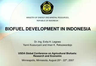 BIOFUEL DEVELOPMENT IN INDONESIA