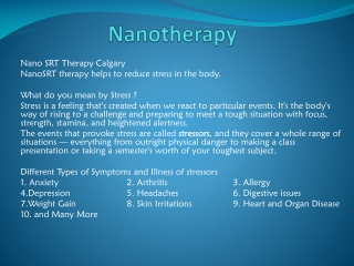 NanoSRT For Stress Reduction Therapy