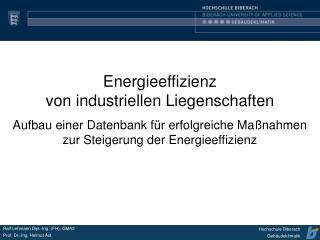 Energieeffizienz von industriellen Liegenschaften Aufbau einer Datenbank f r erfolgreiche Ma nahmen zur Steigerung der E
