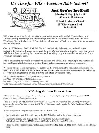 VBS Registration Information