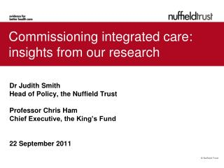 Commissioning integrated care: insights from our research