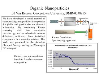 Organic Nanoparticles  Ed Van Keuren, Georgetown University, DMR-0348955