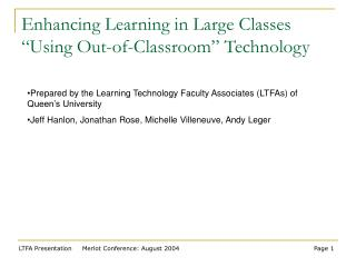 Enhancing Learning in Large Classes  Using Out-of-Classroom  Technology