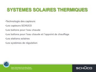 SYSTEMES SOLAIRES THERMIQUES