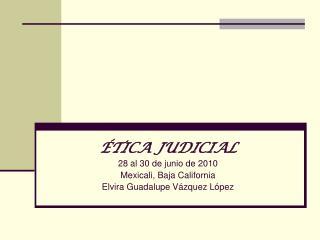 TICA JUDICIAL 28 al 30 de junio de 2010 Mexicali, Baja California Elvira Guadalupe V zquez L pez