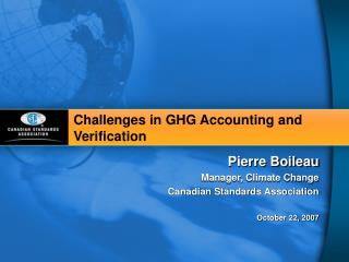 Challenges in GHG Accounting and Verification