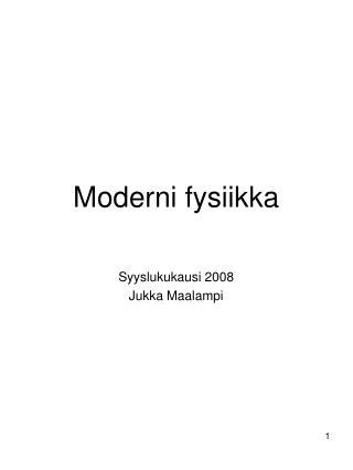 Moderni fysiikka