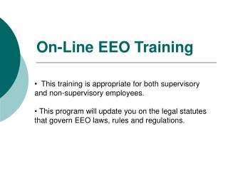 On-Line EEO Training