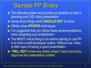Sample PP Slides       Spring 2007