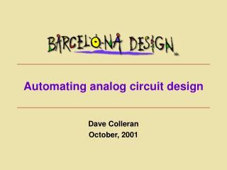 Automating analog circuit design